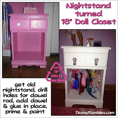 Nightstand Turned 18″ Doll Closet Tutorial