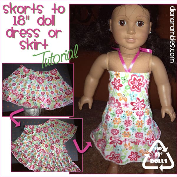 Recycle Skorts into 18″ Doll Dress Tutorial