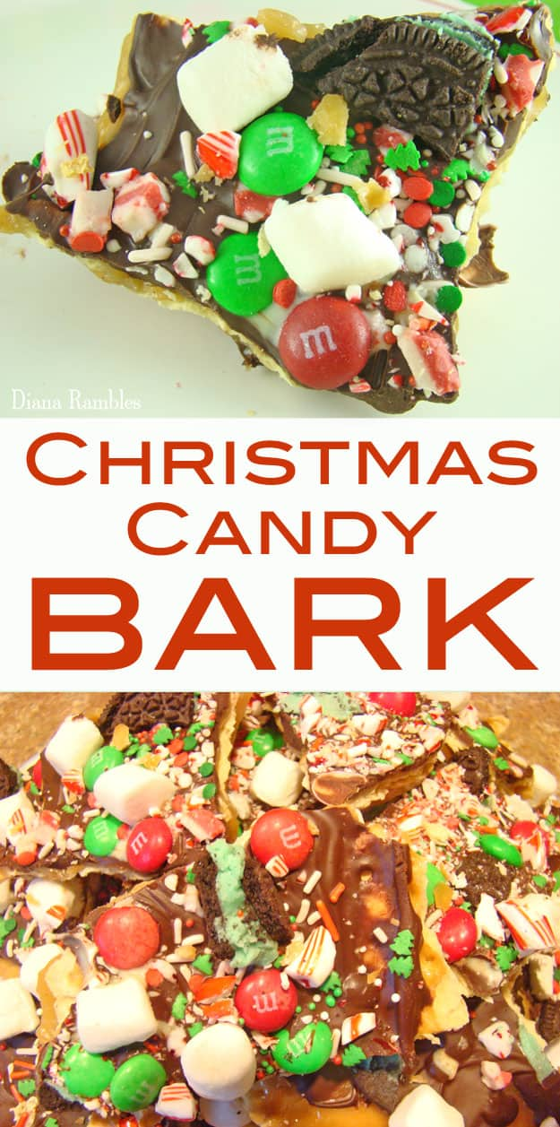 Christmas Candy Bark - Create this festive Christmas Candy Bark aka Crack using Holiday M&Ms, Mint Oreos, Andes Mints, and your favorite Christmas candy. It's so delicious that it will be gone in minutes. #Christmas #candy #bark #Oreos #MandMs #mint #chocolate