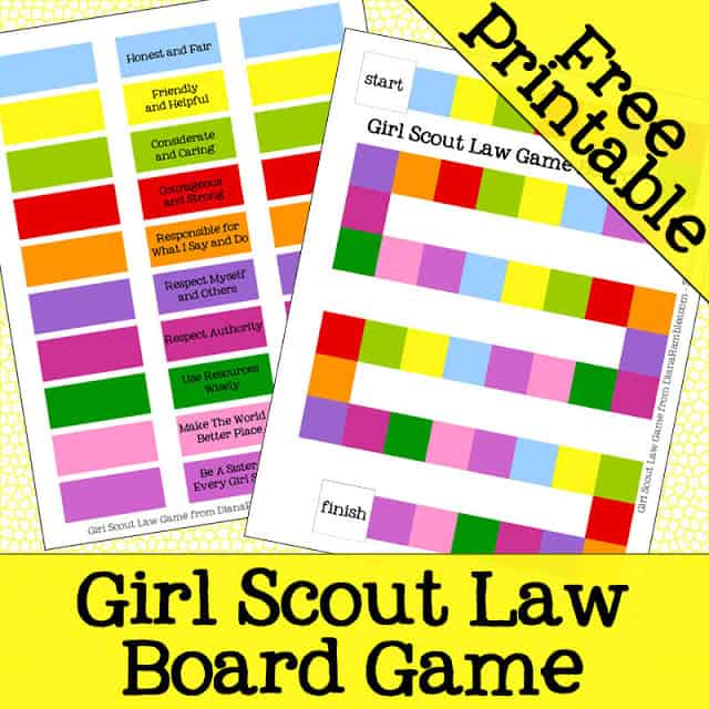 Girl Scout Law Board Game Free Printable - Here is a free download printable to help your Girl Scouts learn the Girl Scout Law.