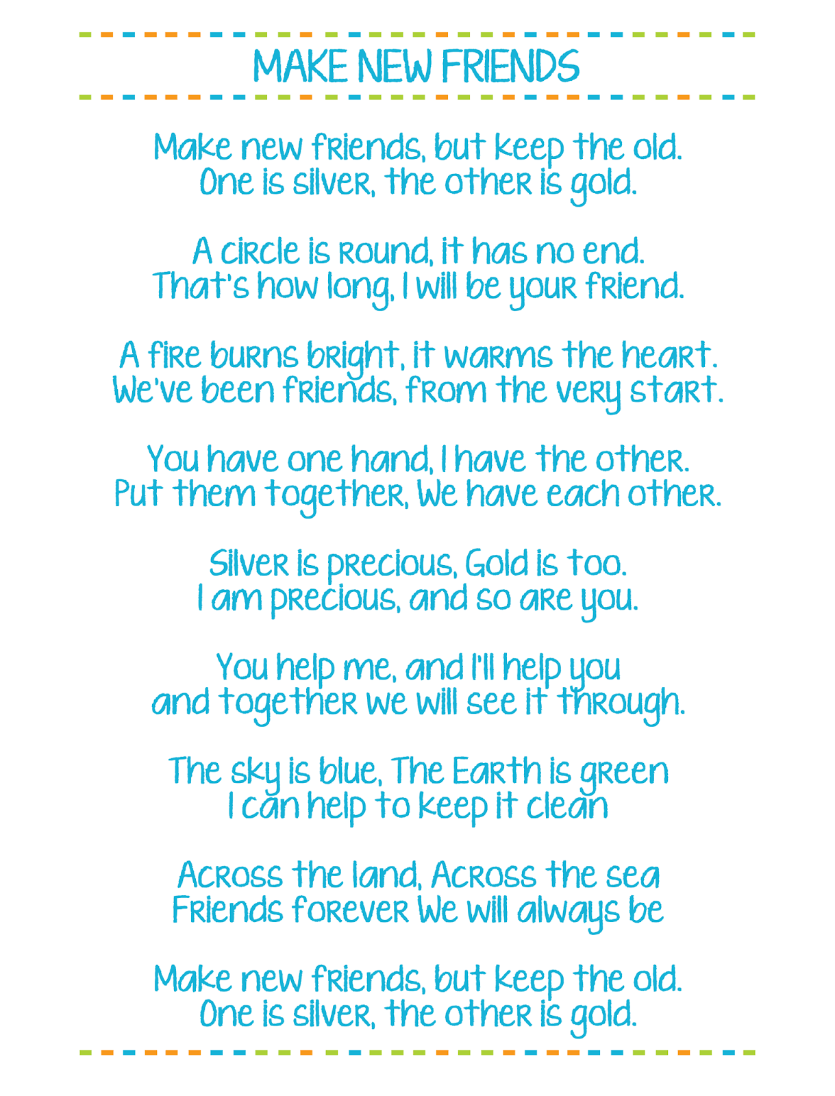 make new friends printable girl scout song lyrics
