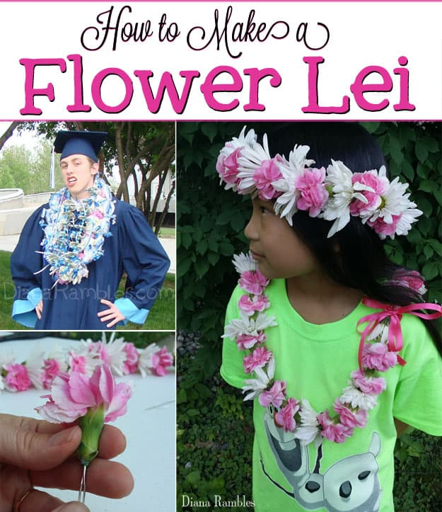 Make Your Own Flower Lei Tutorial - Making a flower lei is much easier than it looks. See how I made a floral necklace with fresh flowers. Great for graduation, mothers day, or weddings.