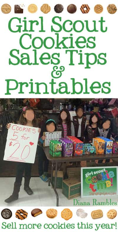 Girl Scouts selling cookies with tips and printables