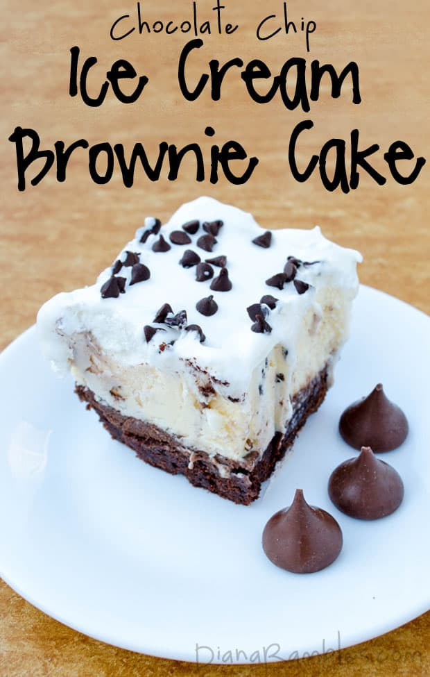 Brownie Chocolate Chip Ice Cream Cake Recipe - Want a unique birthday cake? Create this Brownie Ice Cream Cake using a brownie mix and chocolate chip ice cream. It's so good!