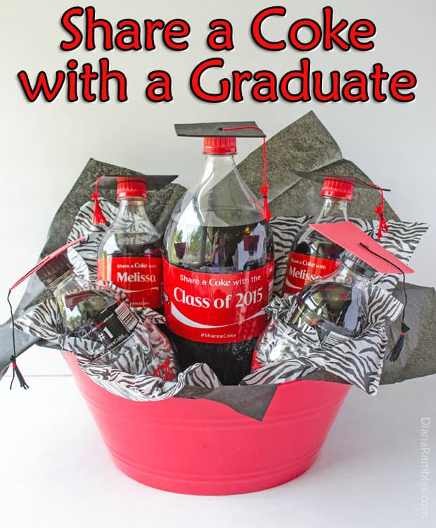 Need a gift for a graduate in your life? Create this personalized graduation gift basket featuring graduates with cap & diploma using Coke bottles. The diplomas are made with money.