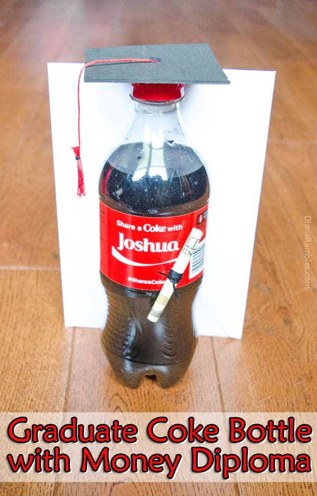 Graduate Coke Bottle with Money Diploma Graduation Gift Tutorial - Need a graduation gift? Create this personalized Graduate Coke Bottle with graduation cap and money diploma using a Coke bottle.