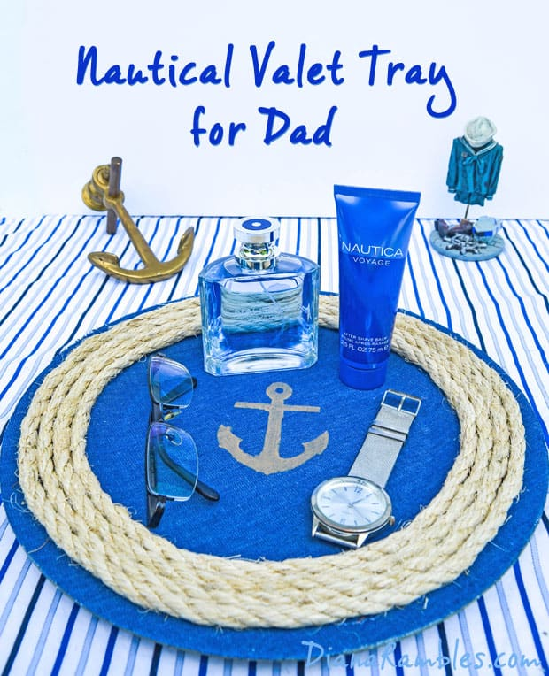 Nautical Valet Tray Tutorial - Need a unique gift for dad? You can whip up this nautical themed valet tray in under 30 minutes using a few simple supplies.