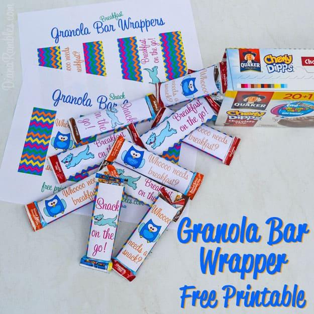 Free Granola Bar Wrapper Printable
