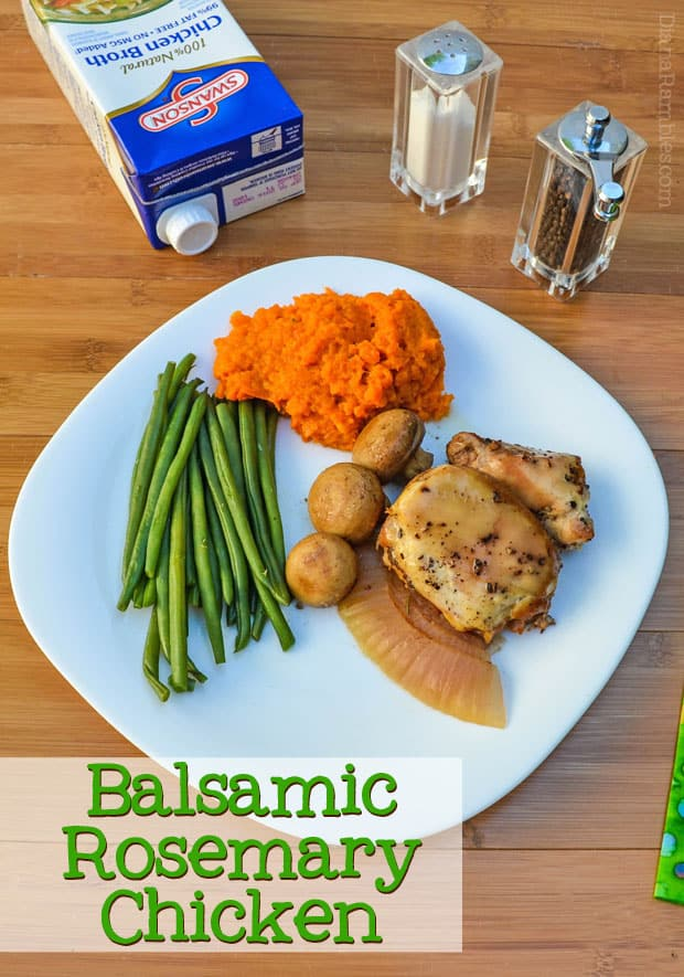 Balsamic Rosemary Chicken - Make this Slow Cooker Balsamic Rosemary Chicken in your slow cooker with 5 simple ingredients. This low carb recipe goes well with carrot mash.