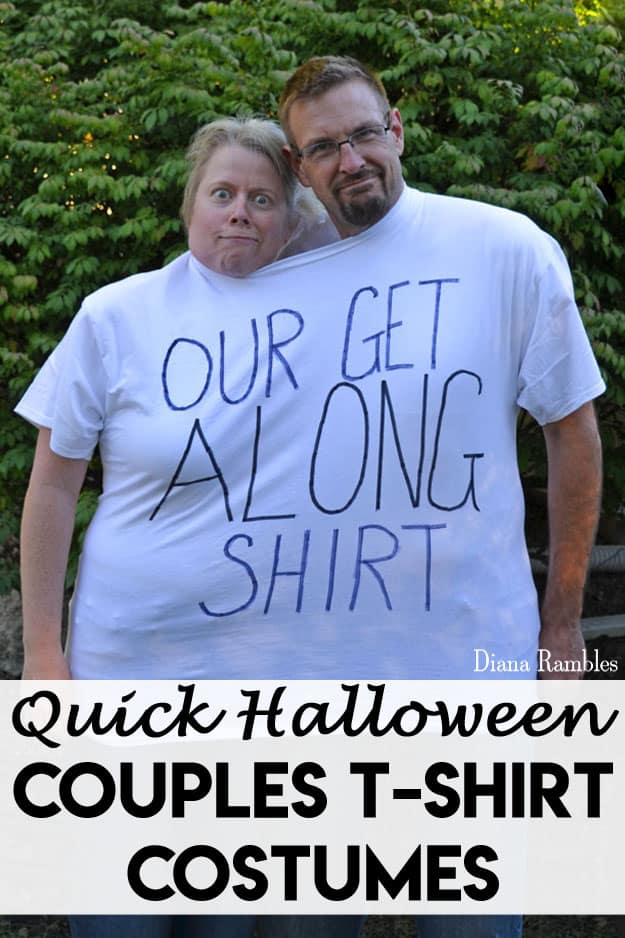 Simple Tshirt Couples Halloween Costumes - Need a last minute Halloween costume? Check out these quick and simple couples Halloween costumes that will be a hit at any party!