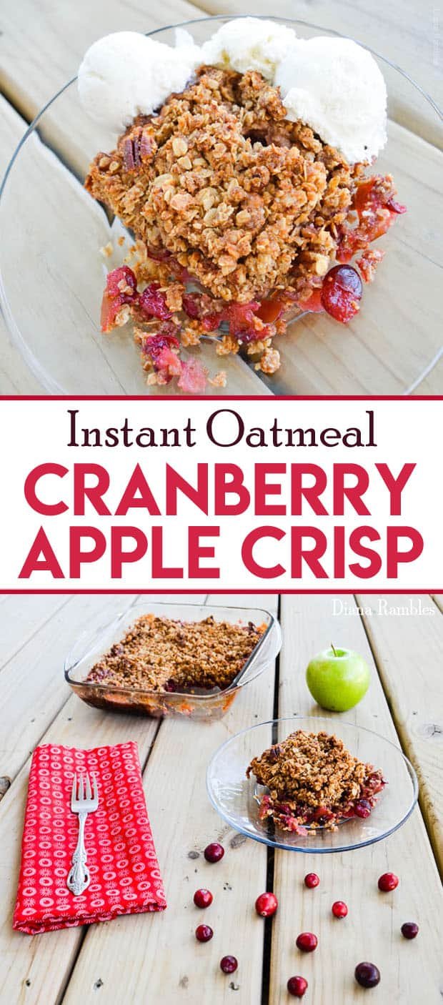 Fresh Cranberry Apple Crisp Recipe made with Instant Oatmeal - Looking for a quick dessert recipe using fresh cranberries? Try this Cranberry Apple Crisp Recipe made with Instant Oatmeal. The prep is quick and easy! Taste great topped with vanilla ice cream. #cranberry #apple #dessert