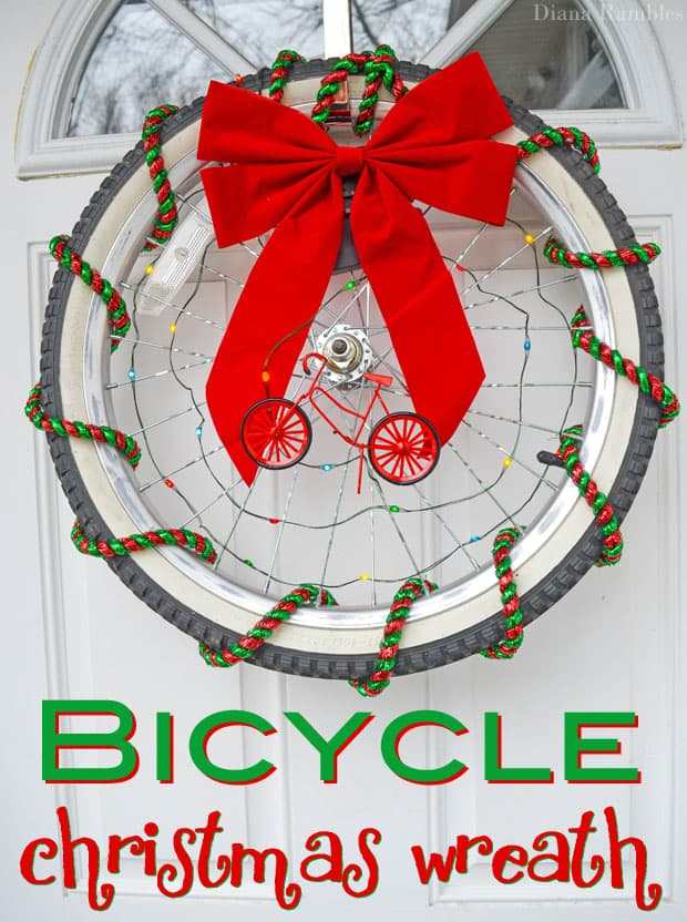 Recycled Bicycle Christmas Wreath #Tutorial