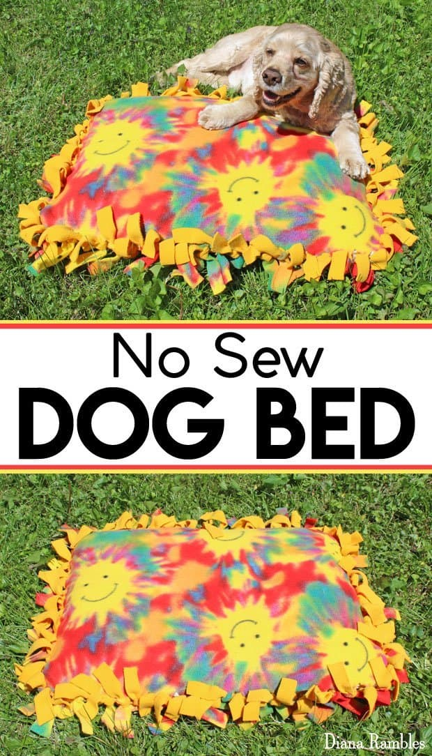 Fleece No-Sew Dog Bed Pillow Tutorial - Create an inexpensive no-sew dog bed with a fleece blanket and a pillow. This simple pet tutorial can be made quickly. It makes a great gift!