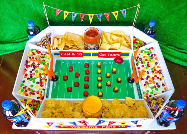 party stadium filled with snacks