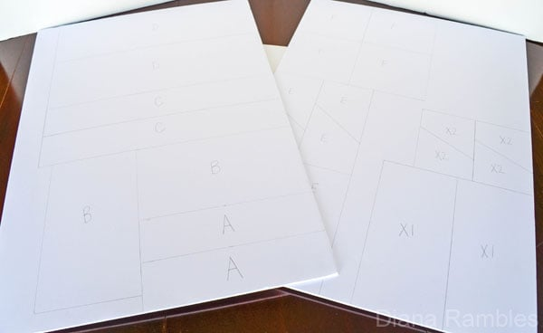 pattern pieces for a homemade football party stadium