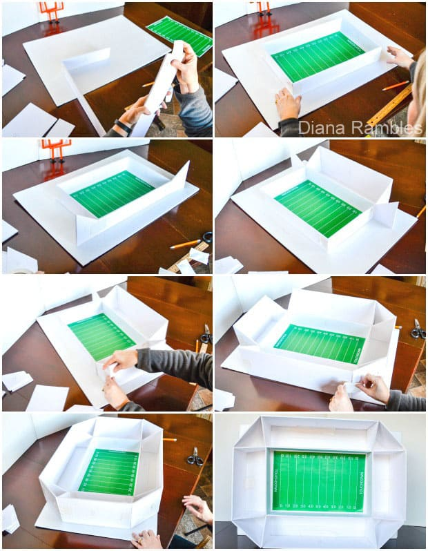 collage of the assembly of a football snack stadium