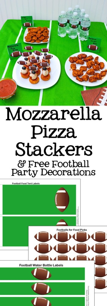 Mozzarella Pizza Stackers Snack - Hosting a Game Day party? Check out this these pizza stackers party snacks. This post also has Free Football Party Decorations Printables.
