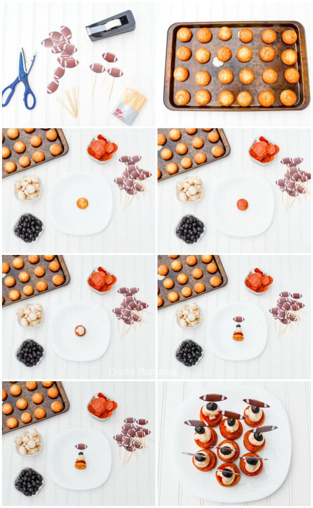 collage showing how to make pizza football bites