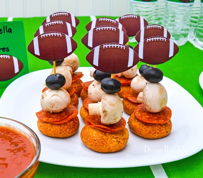 football pizza stackers on a plate
