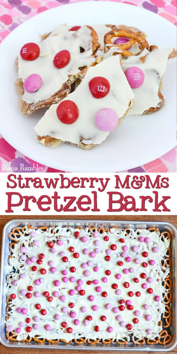 Strawberry M&M Caramel Pretzel Bark Recipe - Here is an easy pretzel bark recipe that combines the flavors of strawberry, caramel, and white chocolate on top of pretzels. It's perfect for Valentine's Day or just to tell someone that you love them with these 5 simple ingredients. #bark #strawberry #pretzels #MMs #ValentinesDay