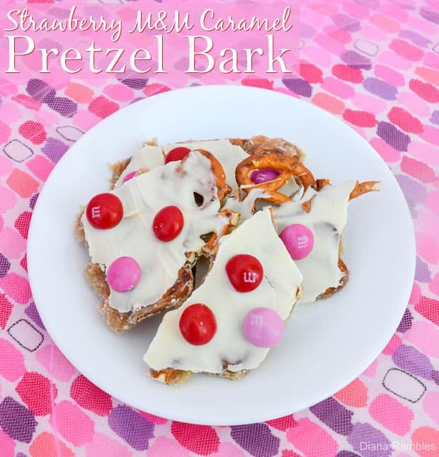 Strawberry M&M Caramel Pretzel Bark