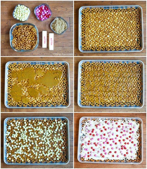 collage of how to make pretzel bark