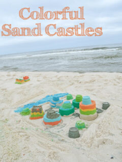 colorful sand castles on the beach