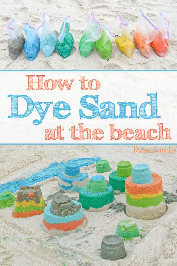 collage with photos showing how to dye sand at the beach