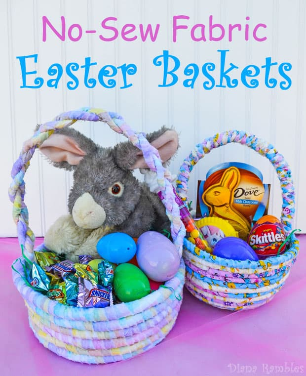 No-Sew Fabric Easter Basket - Need a one of a kind Easter basket to fill with candy? Follow this tutorial for a no-sew fabric Easter basket that is really easy to make.