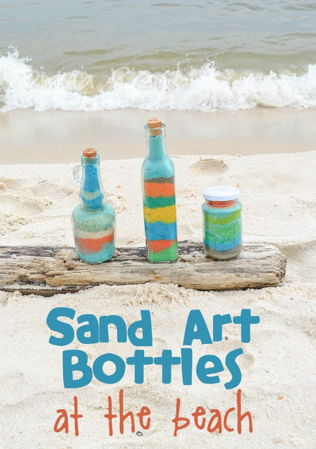 Sand Art Bottles Craft at the Beach - Want a fun beach vacation activity? Color sand and create these sand art bottles using the sand at the beach. It's a perfect family spring break craft.