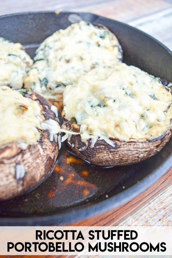 Portobello Spinach Ricotta Stuffed Mushroom Recipe - Need a hearty vegetarian recipe? Try these Portobello Stuffed Mushrooms that are stuffed with ricotta, garlic, & spinach and baked in a cast iron skillet. Even meat eaters will love it!