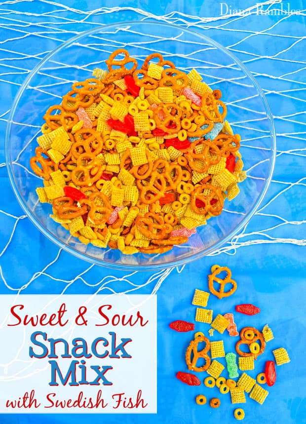Sweet and Sour Snack Mix made with Swedish Fish and Sour Patch Kids Recipe Mix