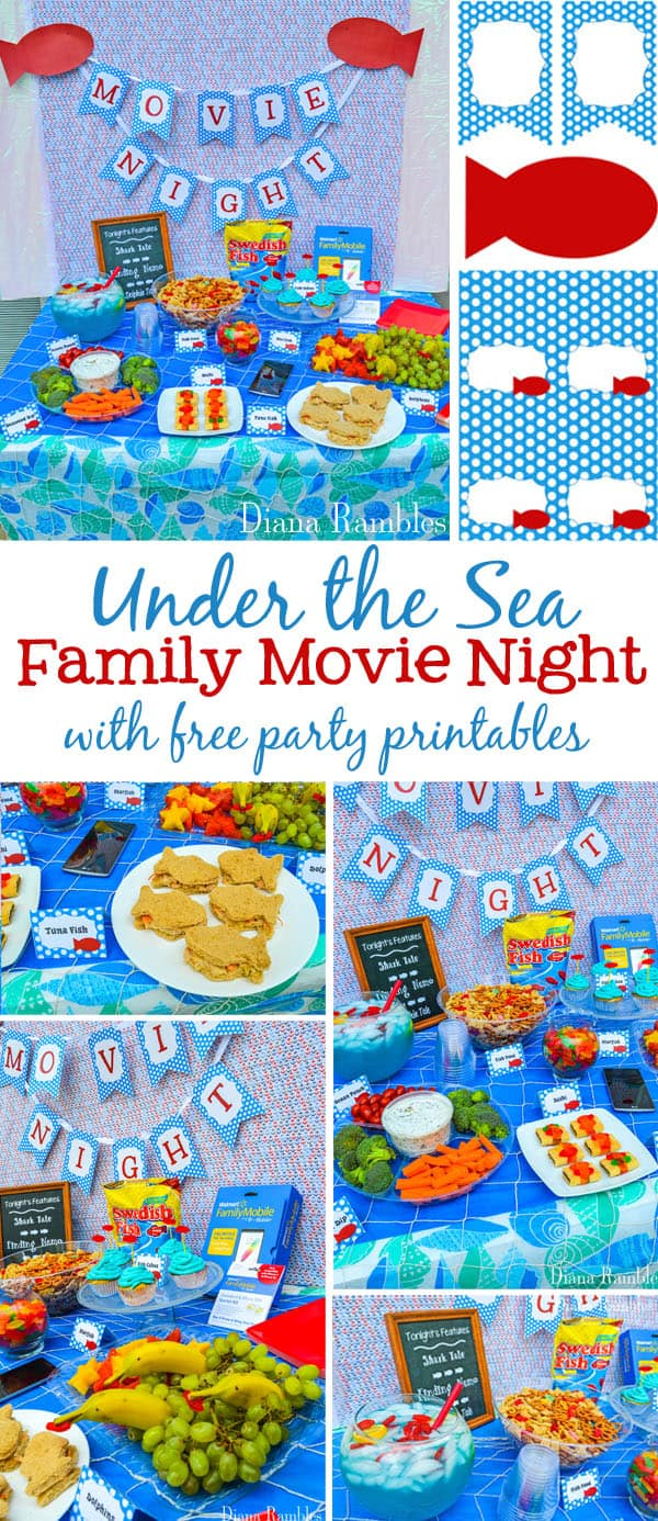 Under the Sea Family Movie Night Party Tutorial - Throw an Under the Sea themed family movie night with these free printables, Swedish Fish Snack Mix recipe, fun foods, and party tutorial