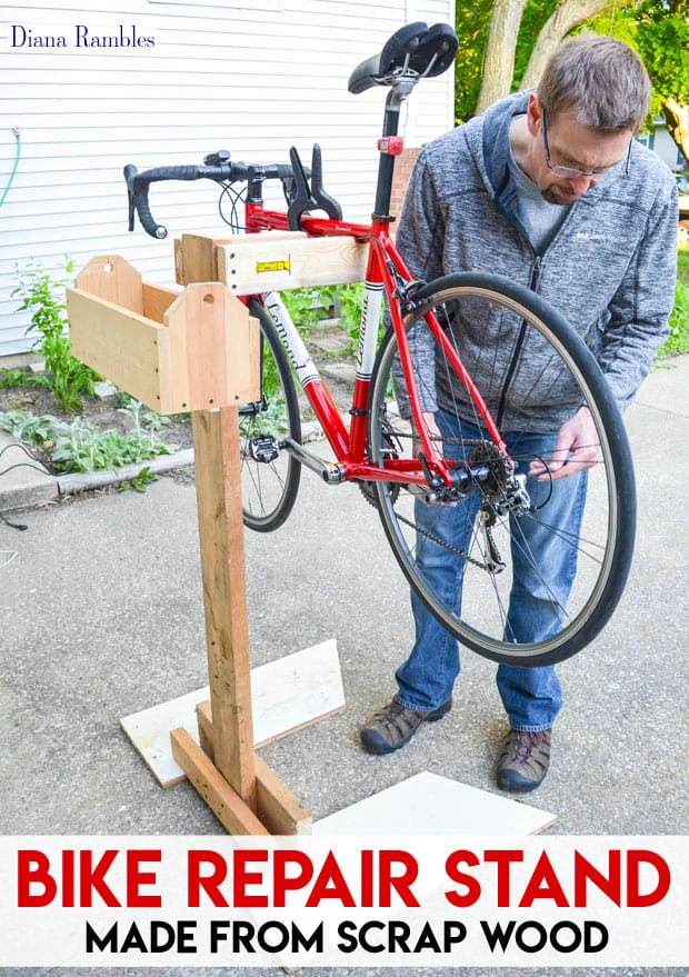 Diy bicycle repair stand from scrap wood tutorial for How to make a bike stand out of wood
