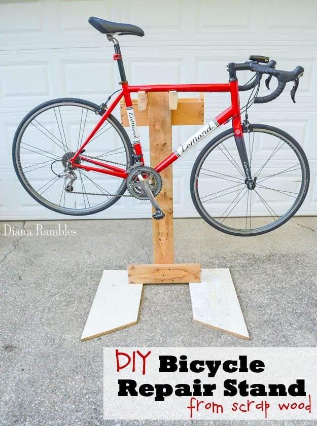 DIY Bicycle Repair Stand Bike Tutorial - Learn how to make a bicycle repair stand out of wood scraps. This frugal project goes together quickly and will help you to make adjustments to your bike without stressing out your body.