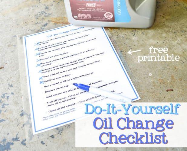 DIY Oil Change Checklist Printable