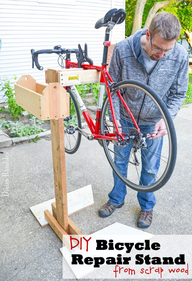 Frugal diy bicycle repair stand tutorial for How to make a bike stand out of wood