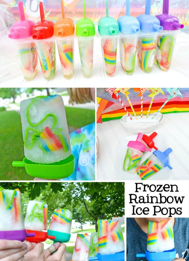 Frozen Rainbow Ice Pop Freezer Pops Recipe AD - Enjoy a frozen rainbow! These ice pops are super easy to make and even funner to eat!