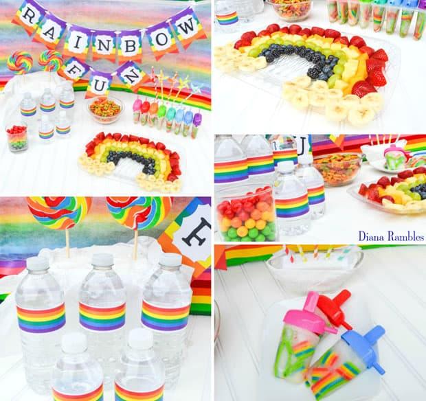 Rainbow Fun Tie-Dye Party Colorful Snacks