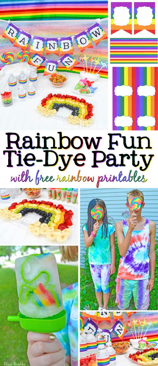 Rainbow Fun Tie-Dye Party with Free Download Printables AD - Need a unique party idea for you and old alike? Check out this rainbow fun tie-dye party. Have a colorful time with the free download printables.