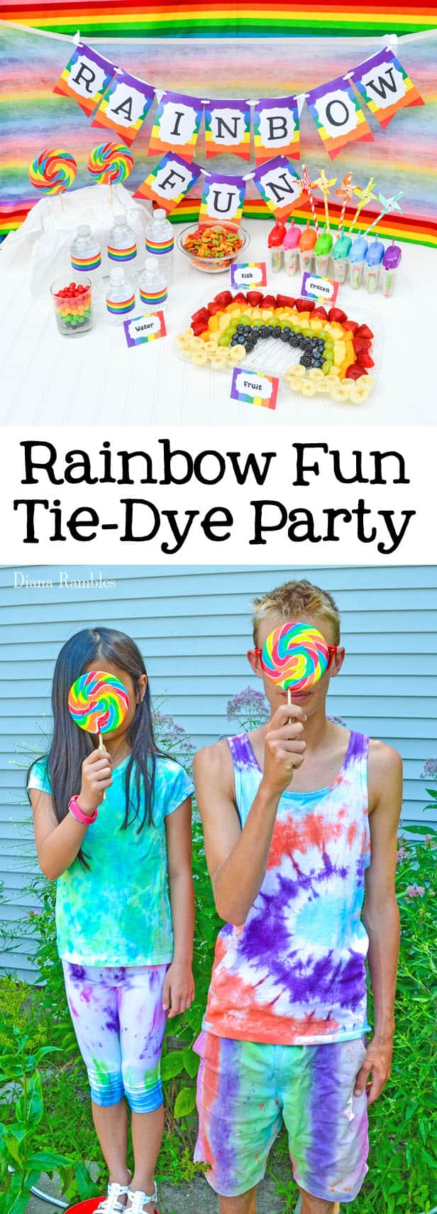Rainbow Fun Tie-Dye Party with Free Printables - Need a unique party idea for you and old alike? Check out this rainbow fun tie-dye party. Have a colorful time with the free download printables.