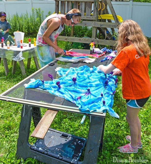 Tie-Dye Party with Kids Dye Station