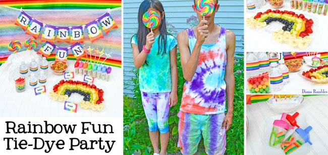 Tie-Dye Rainbow Fun Party with Free Printables - Need a unique party idea for you and old alike? Check out this rainbow fun tie-dye party. Have a colorful time with the free download printables.