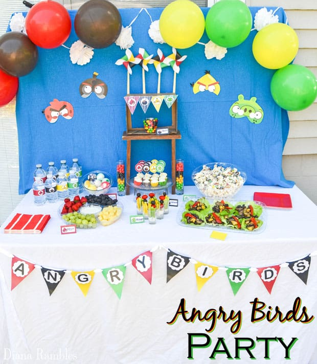 Angry Birds Party with Free Party Decorations - Throw an Angry Birds Party or family movie night with these recipes and free party decorations. These free party favors will help you throw the best party.