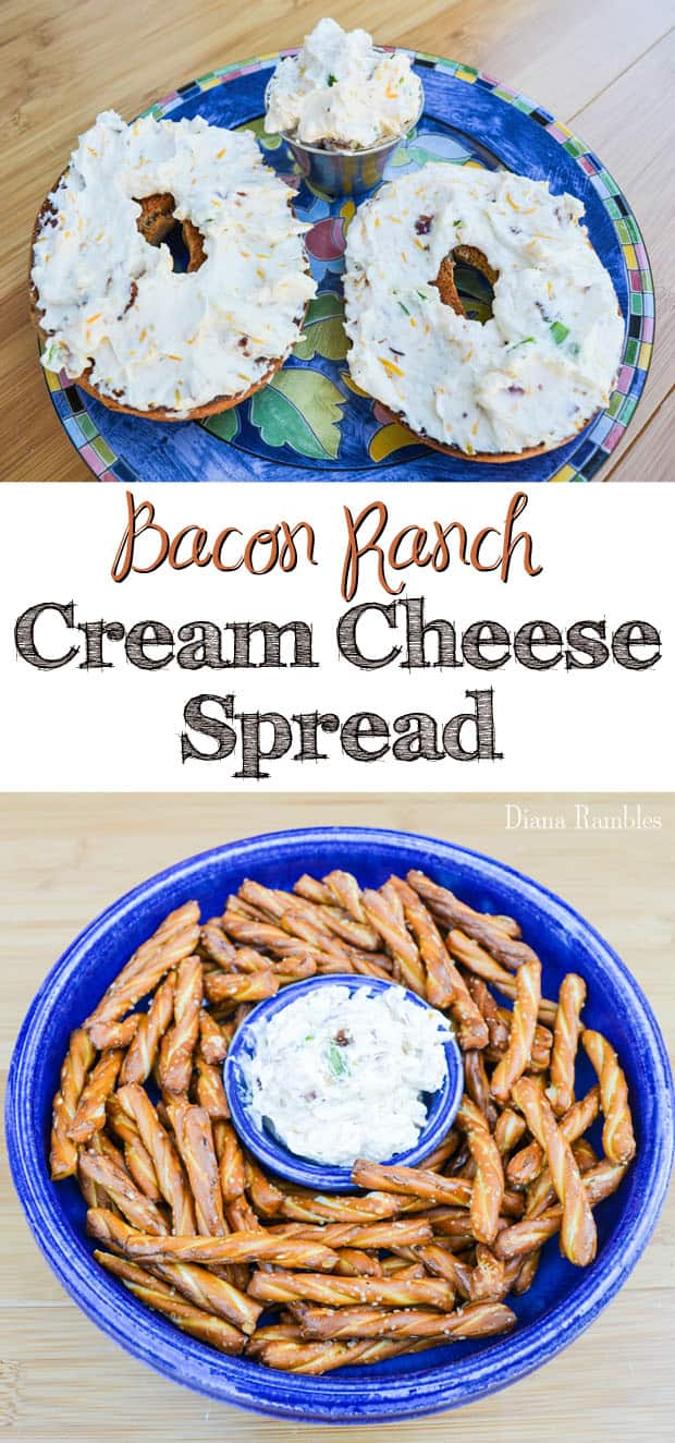 Bacon Ranch Cream Cheese Spread Recipe - Need to mix up the normal bagel routine? Try this simple Bacon Ranch Cream Cheese Spread that also makes a great party dip.