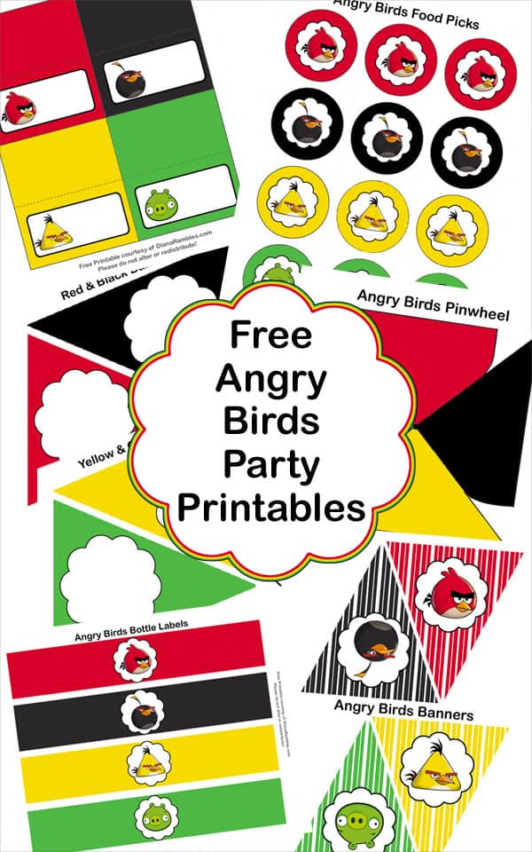 Free Angry Birds Party Printables - Throw an Angry Birds Party or family movie night with these recipes and free party decorations. These free party favors will help you throw the best party.
