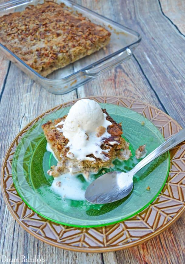 Apple Spice Dump Cake Recipe with Ice Cream on top
