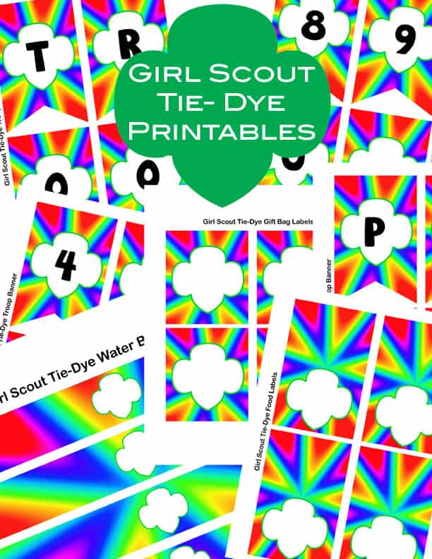 collage of free Girl Scout rainbow party printables
