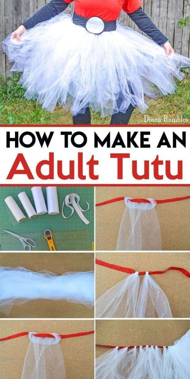 How to Make an Adult Tutu Easy Tutorial - Want a Tutu for a Halloween costume or party? Follow this easy Adult Tutu tutorial to make an inexpensive addition to your wardrobe.