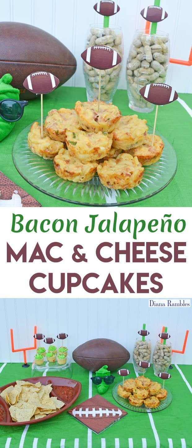 Bacon Jalapeno Macaroni and Cheese Cups Football Party Recipe - Need a unique recipe for your next viewing party? Try these Mac and Cheese Cupcakes. This handheld recipe is the perfect addition to any game day celebration.